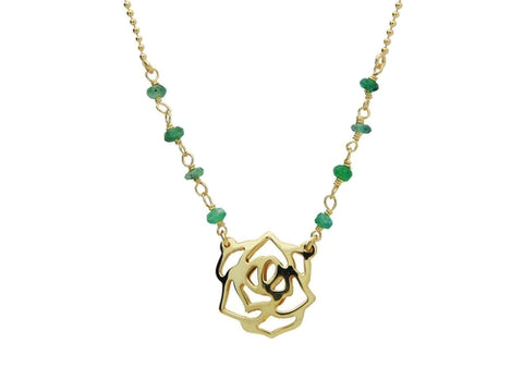 Green Jade Golden Rose Necklace