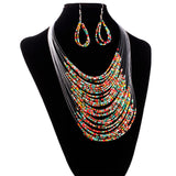 Multicolor Multi-layer Resin Beads Necklaces and Earrings Set