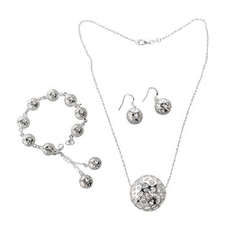 Women Ball Shaped Jewelry Set Bracelet Necklace Earrings