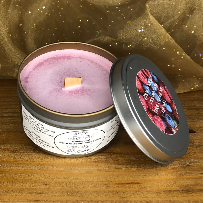 Wooden Wick Soy Candle ~ Sweet Berrylicious