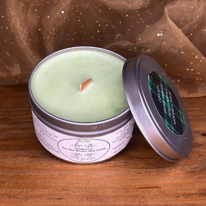 Wooden Wick Soy Candle ~ Green Irish Tweed