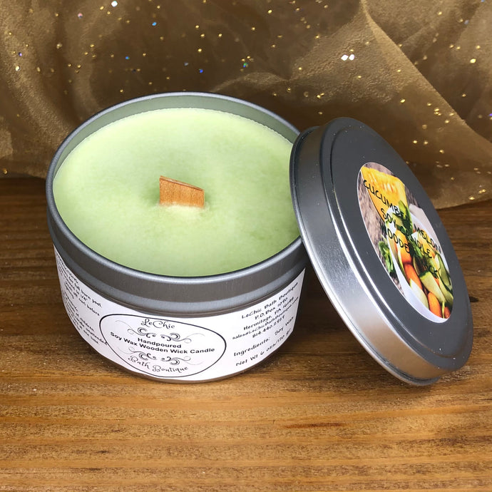 Wooden Wick Soy Candle ~ Cucumber Melon