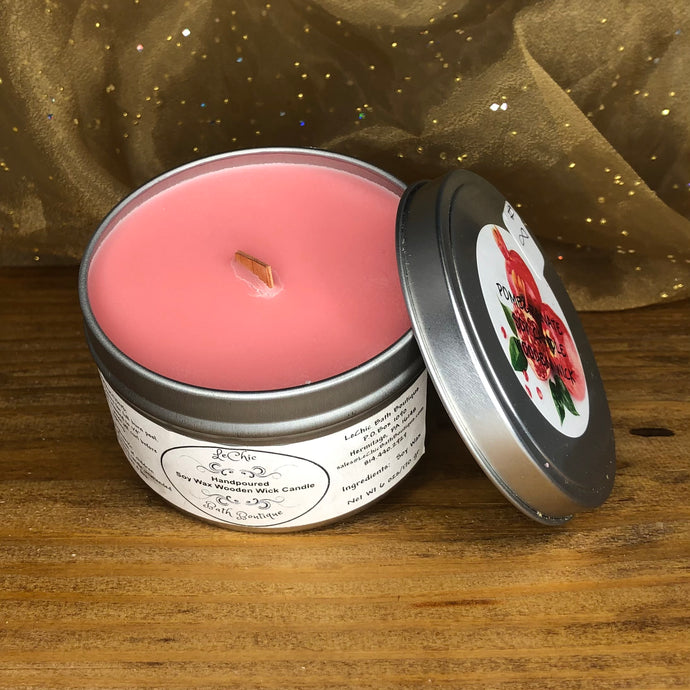 Wooden Wick Soy Candle ~ Pomegranate