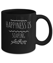 Happyness is soaping black mug