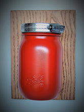 HALF-PINT CANNING JAR ATTACHED TO WOOD