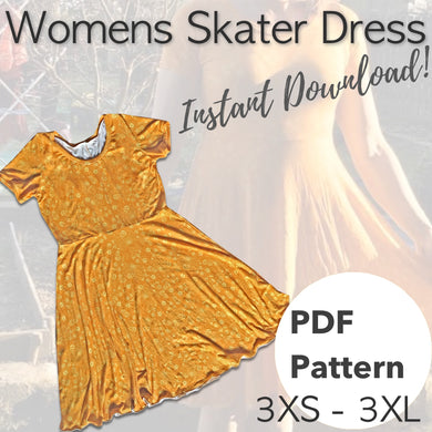 PDF Womens Skater Dress pattern - 3XS to 3XL