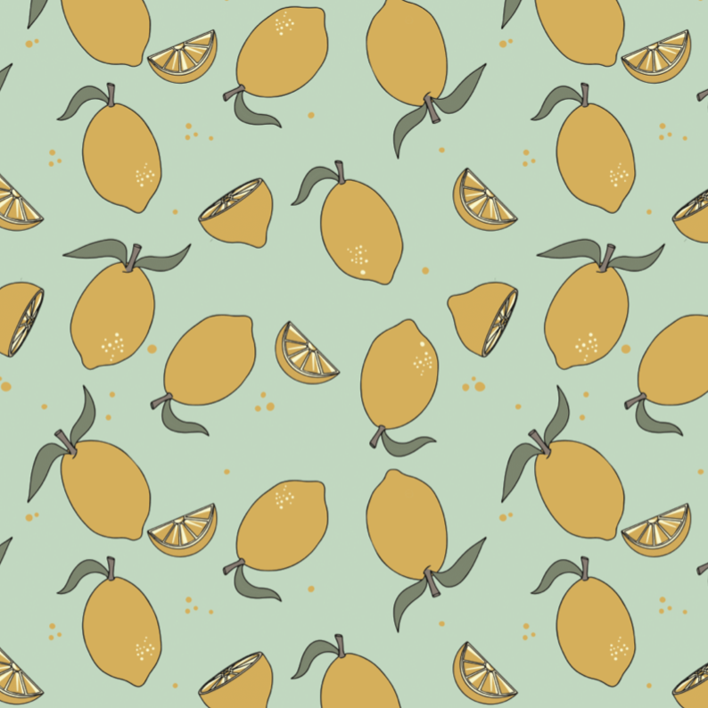 Lemon Neo Mint Jersey Fabric by Elvelyckan - Baboosh Designs