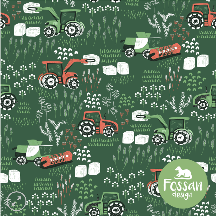 Tractors Jersey Fabric by Fossan