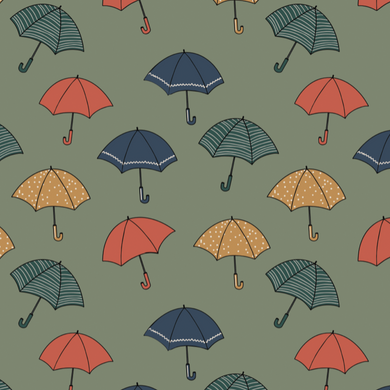 Umbrella Green Jersey Fabric by Elvelyckan