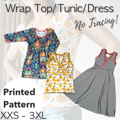 womens' top tunic dress sewing pattern breastfeeding option