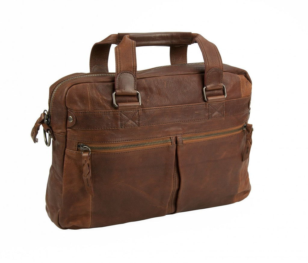 Andrew Marc NY Leather Bowery Top Zip Briefcase with Strap