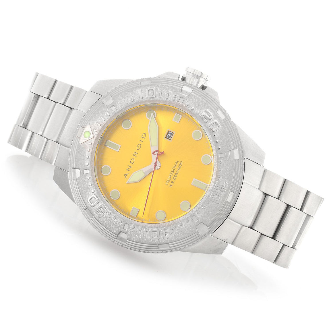 Android Men's Divemaster 200 Yellow Dial Stainless Steel Watch