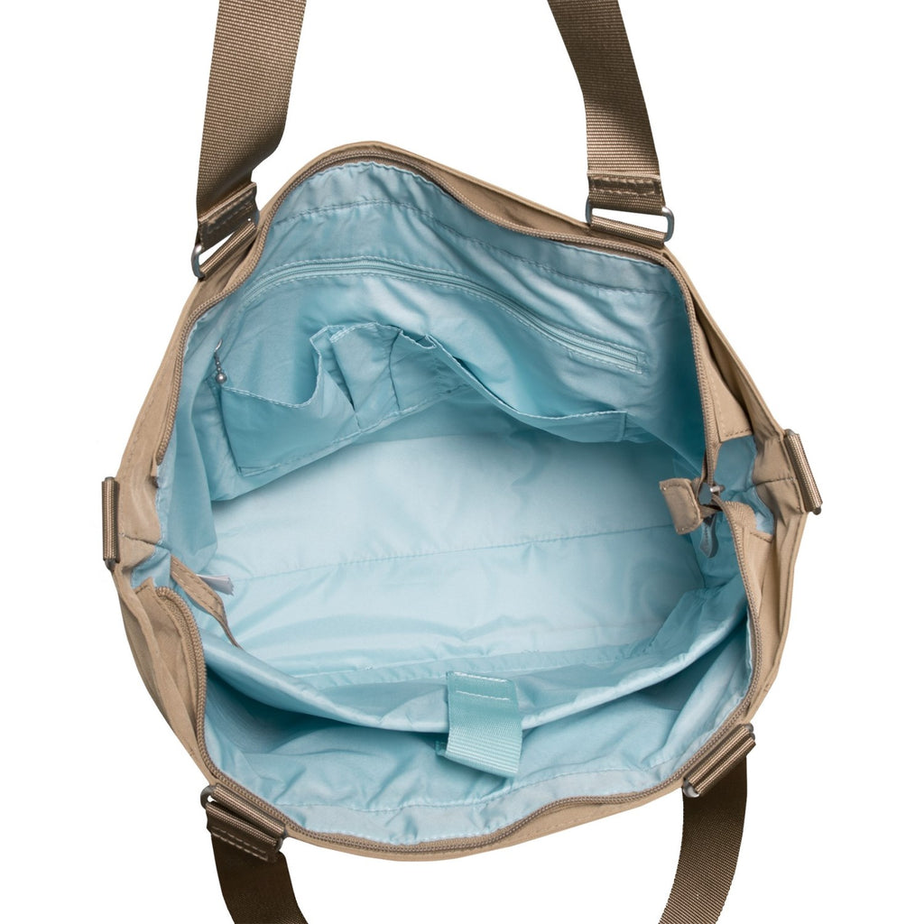 Baggallini Women's Laptop Pocket Tote Shoulder Bag Mushroom/Teal