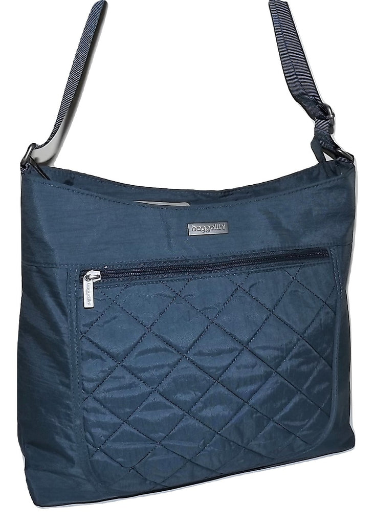 Baggallini Quilted Voyager Hobo Tote Blue