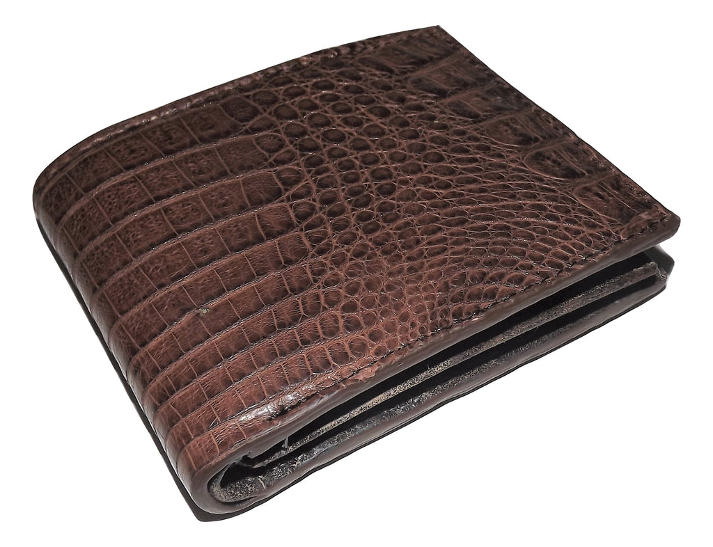 Baglioni Crocodile Bifold Change Pocket Wallet Brown
