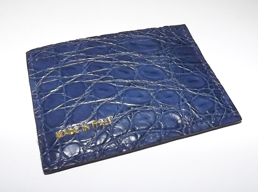 Baglioni Crocodile Front Pocket Card Case Wallet Blue