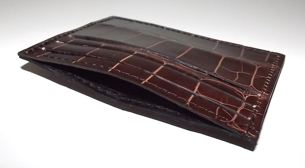 Baglioni Crocodile Front Pocket Card Case Wallet Brown