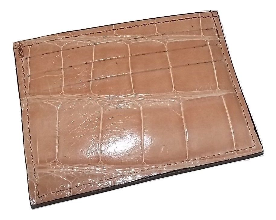 Baglioni Crocodile Front Pocket Card Case Wallet Tan
