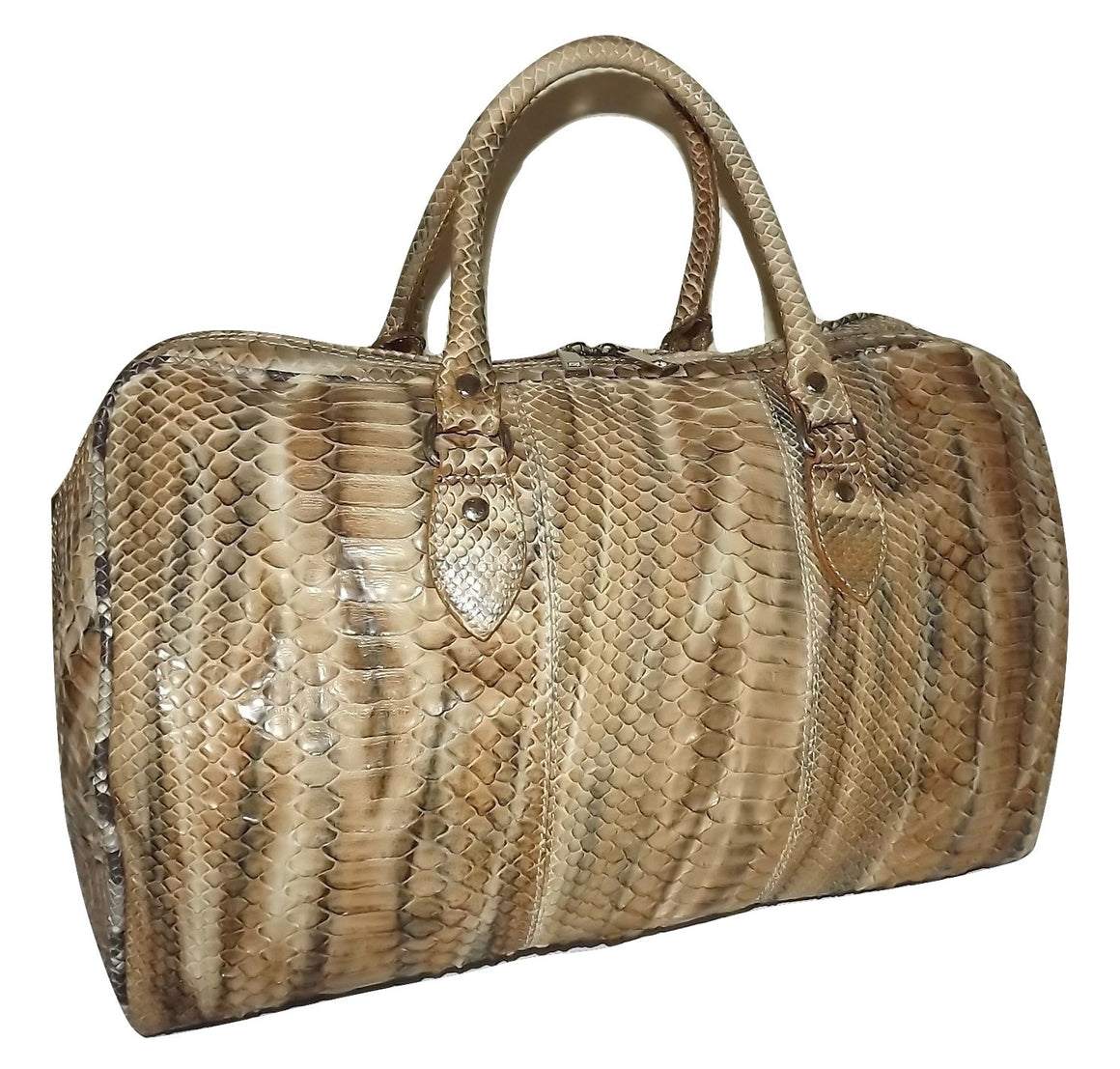 "Baglioni Italia Vero Pitone Genuine Python 18"" Carry-on Duffel Luggage Brown"
