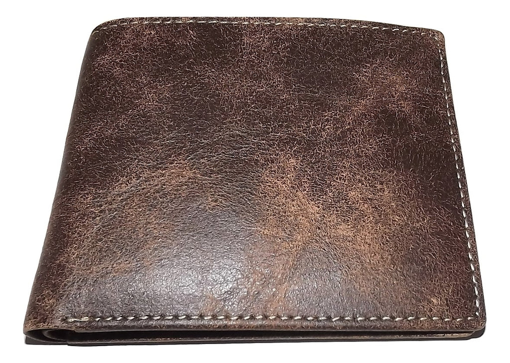Baglioni Italia Vintage Leather Bifold Passcase Wallet Brown