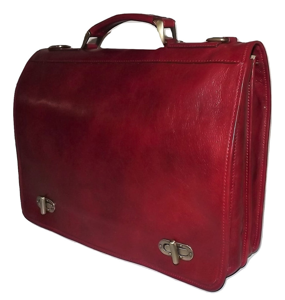 Baglioni Italia Front Flap Double Gusset Briefcase Red