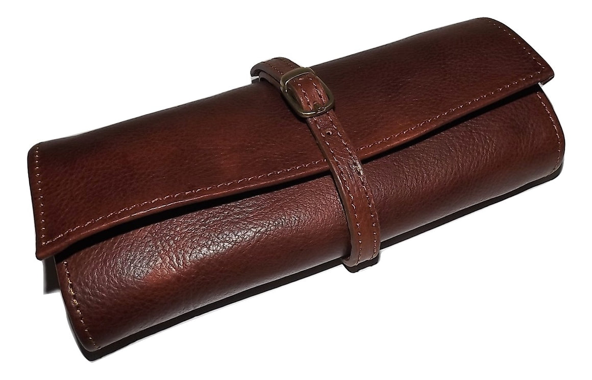 Baglioni Italia Leather Jewelry Roll Cognac