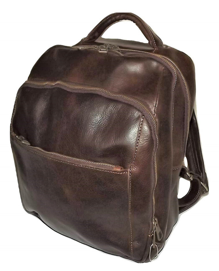 Baglioni Italia Leather 3 Compartment Backpack Dark Brown