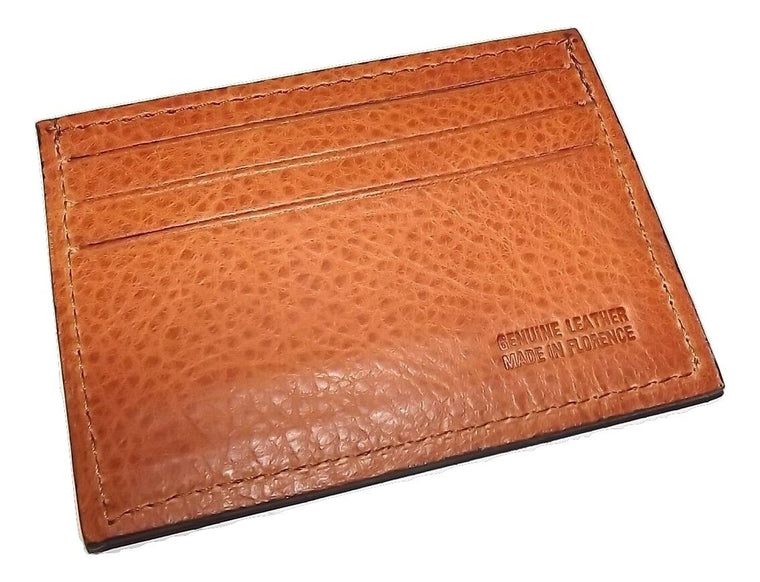 Baglioni Italia Leather Card Case Wallet Cognac