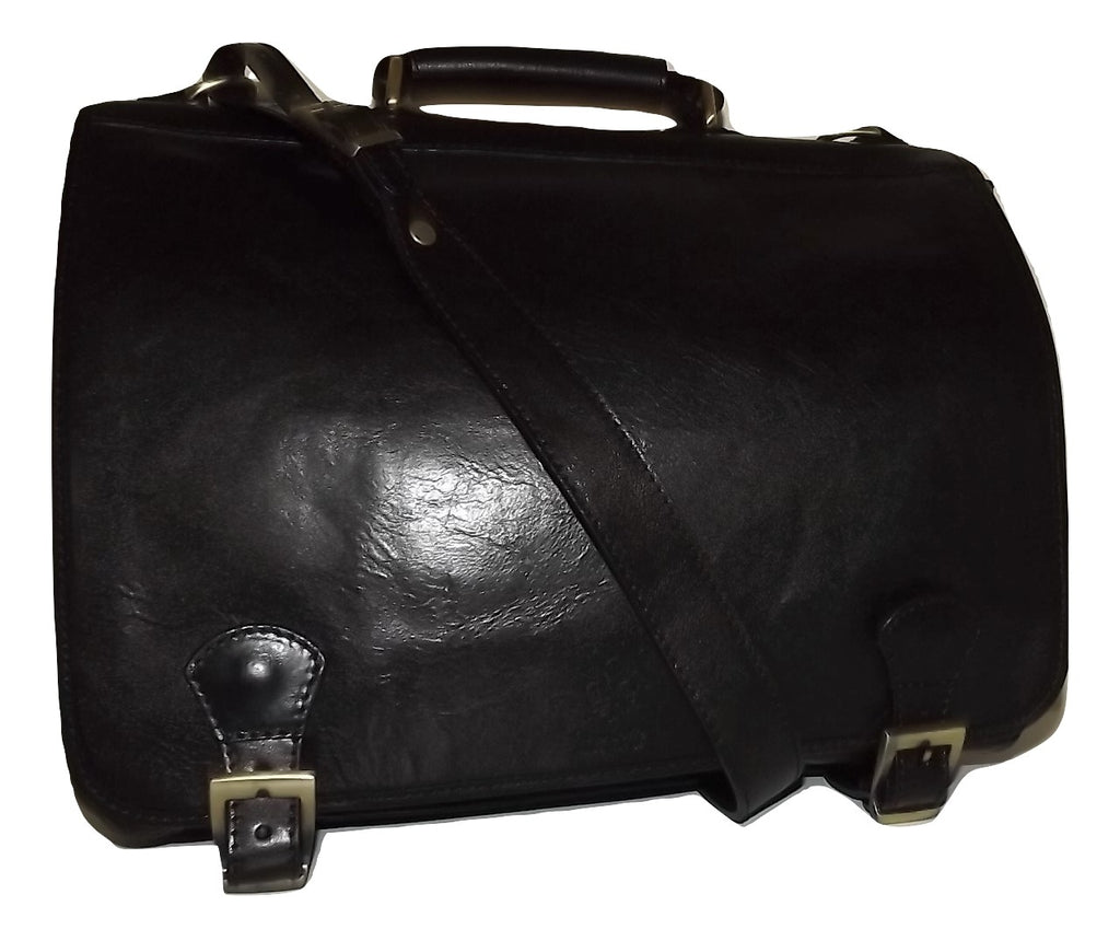 Baglioni Italia Leather Double Gusset Briefcase Black