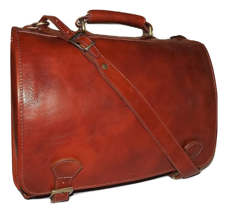 Baglioni Italia Leather Double Gusset Briefcase Cognac