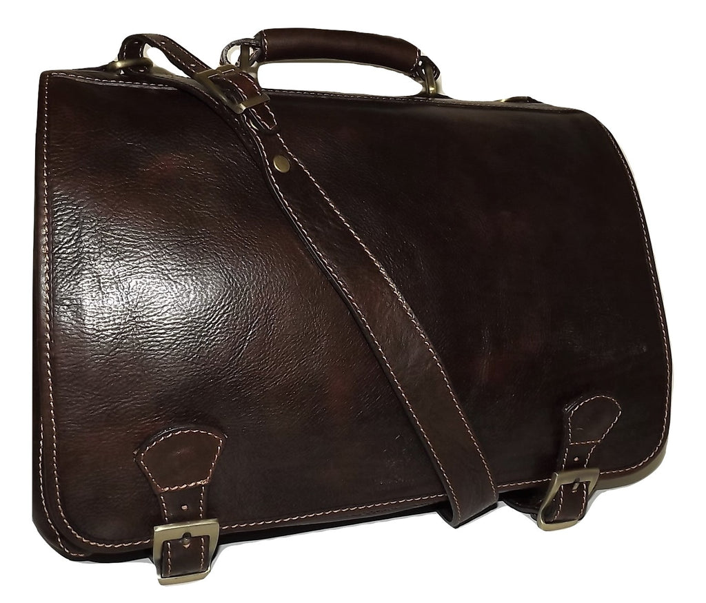 Baglioni Italia Leather Double Gusset Briefcase Dark Brown