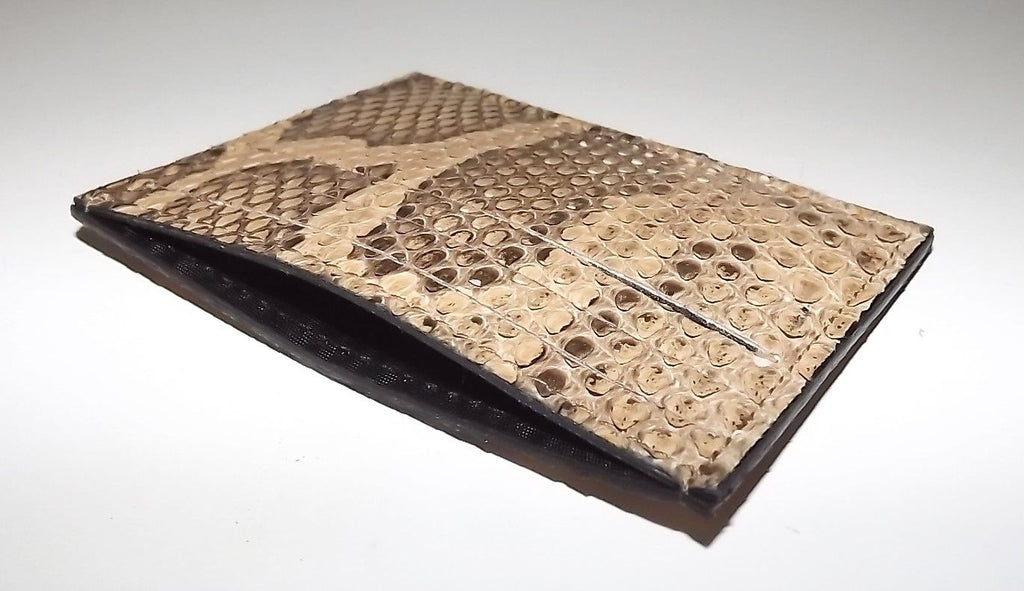 Baglioni Python Front Pocket Card Case Wallet Brown Multi