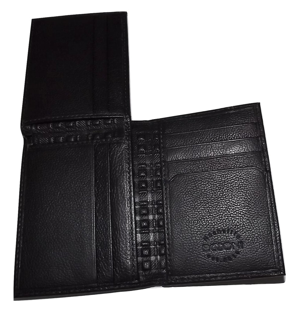 Boconi Men's Leather RFID L Fold Wallet Black
