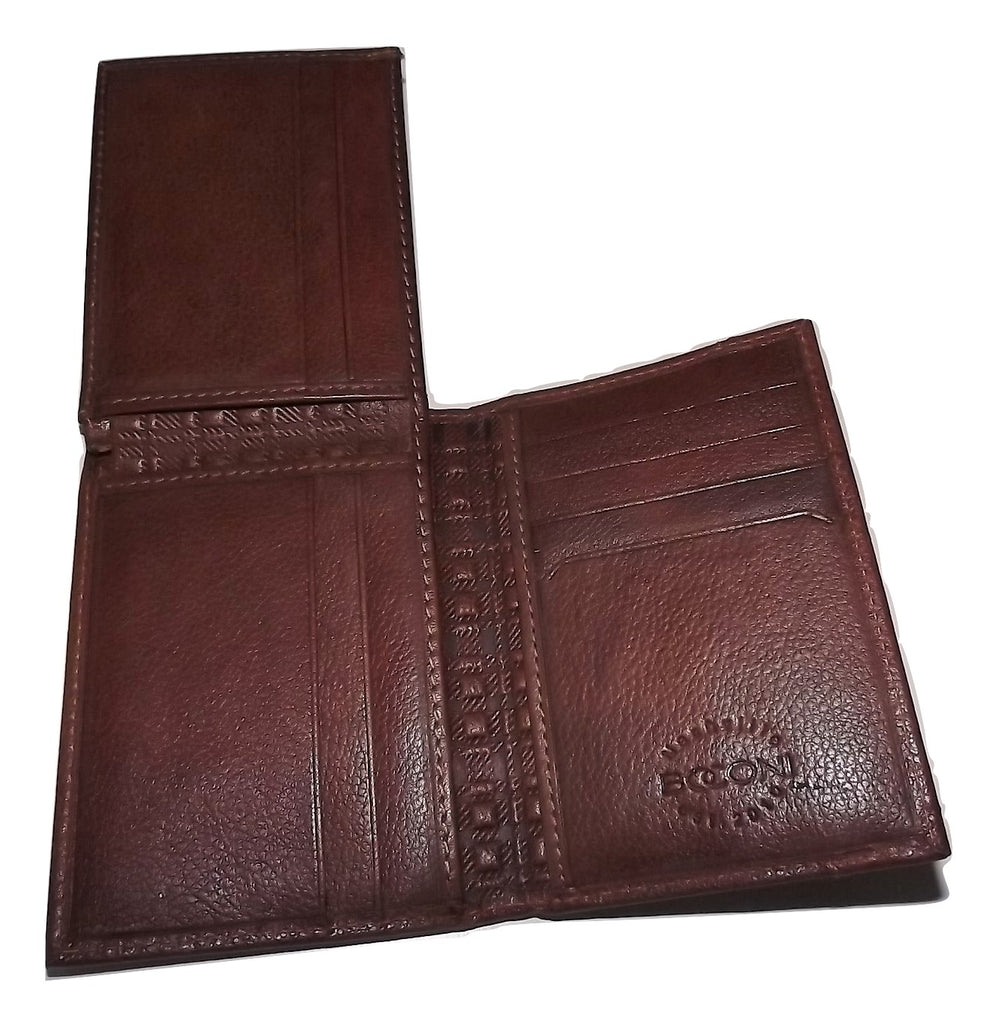 Boconi Men's Leather RFID L Fold Wallet Cognac