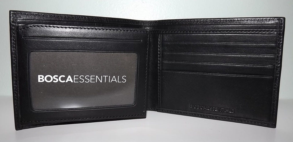 Bosca Men's Nappa Leather Continental Wallet with Flip-out ID Black