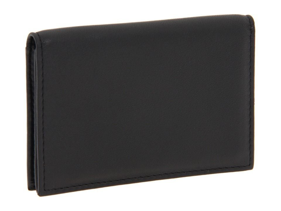 Bosca Men's Nappa Leather Front Pocket Gusseted Card Case ID Wallet Black