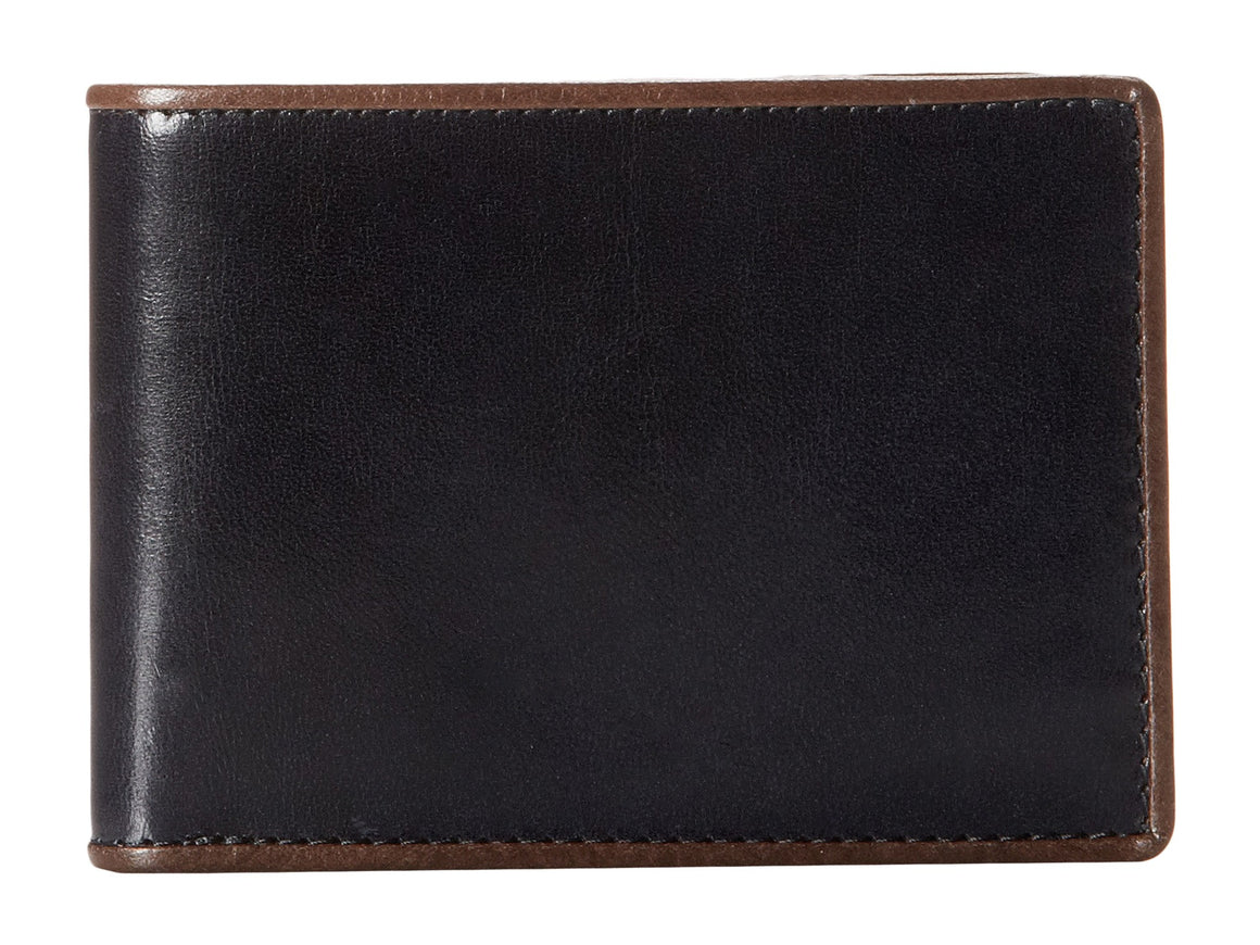 Bosca Men's Montreal Tuscan Leather Bifold 6 Pocket Credit Card Wallet Navy