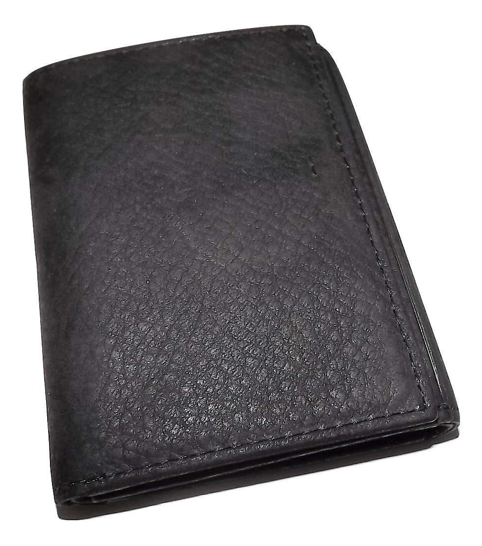 Bosca Nubuck Leather Trifold Wallet Black