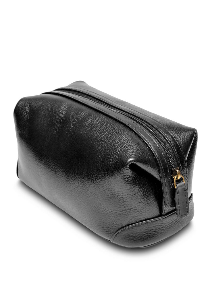 Bosca Top Zip Framed Toiletry Shave Kit Black