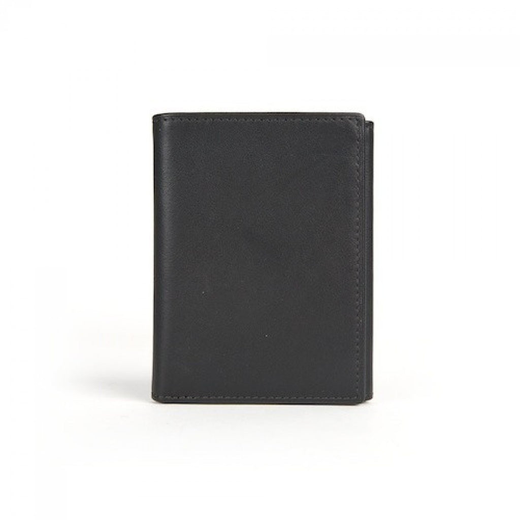 Bosca Nappa Leather Trifold Credit Card Wallet with Dual ID Black