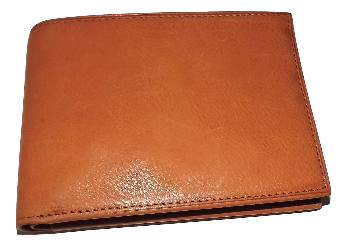 Bosca Waxy Burnished Leather Bifold Passcase Wallet Tan
