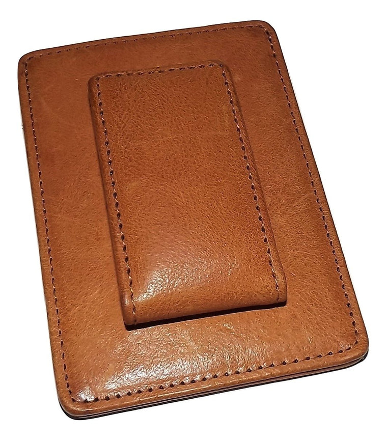 Bosca Waxy Burnished Money Clip Card Case Wallet Tan