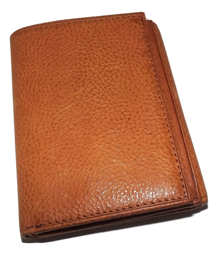 Bosca Waxy Burnished Leather Trifold Dual ID Wallet Tan