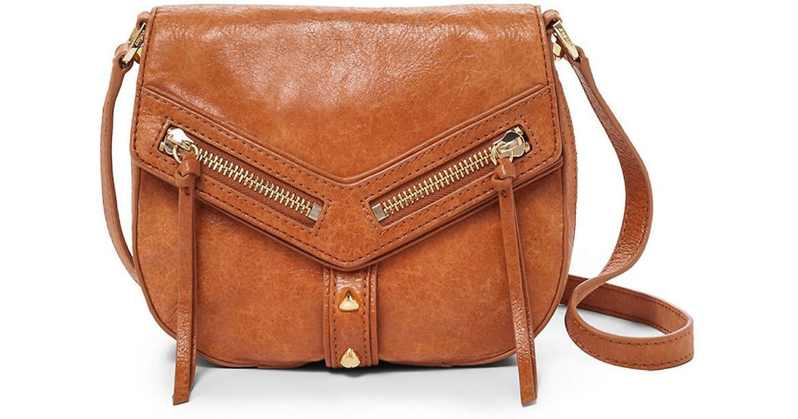 Botkier Women's Leather Trigger Front Flap Crossbody Shoulder Bag Saddle