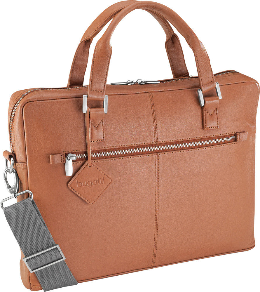 Bugatti Manhattan Leather Briefcase Cognac