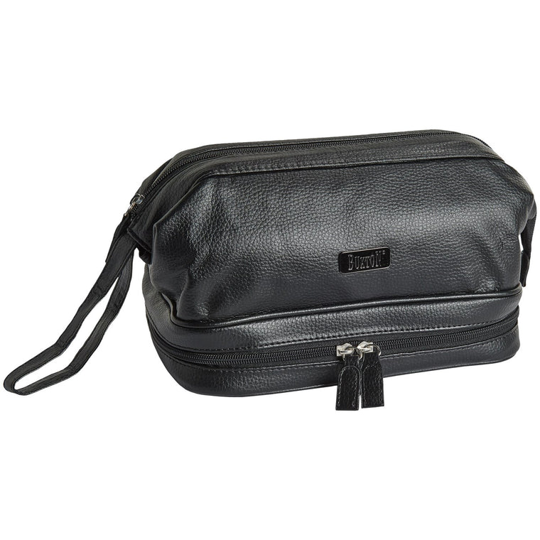 Buxton Framed Toiletry Kit with Bottles Black