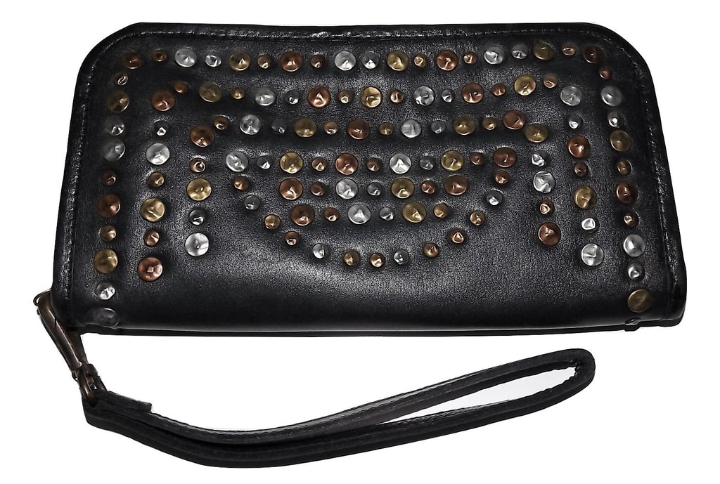 Castellani Italian Leather Clutch Wallet Black