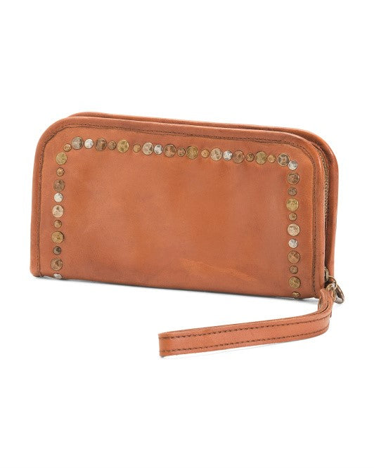Castellani Italian Leather Clutch Wallet Cognac