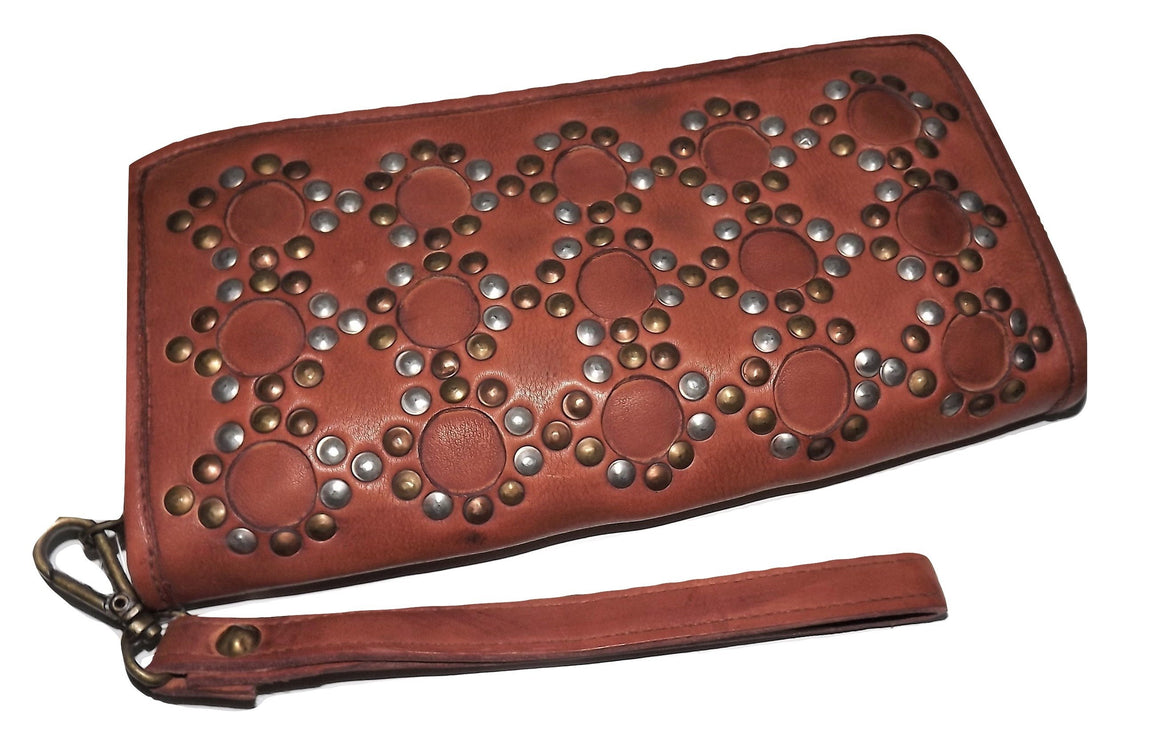 Castellani Italy Leather Studded Clutch Wallet Cognac