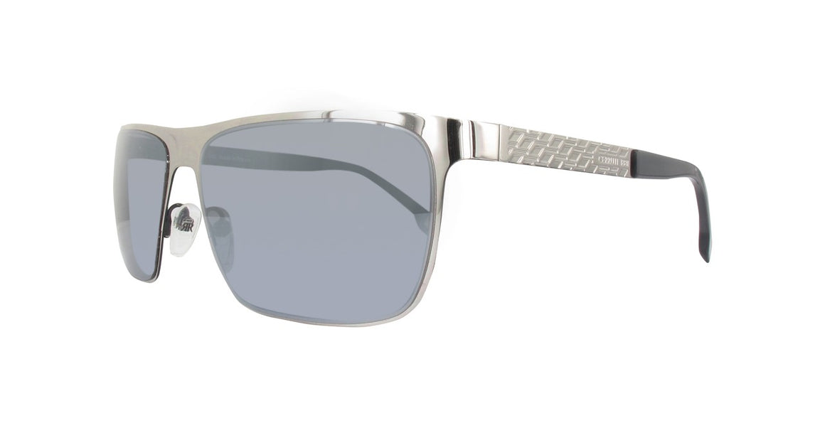 Cerruti Rectangle Sunglasses Polished Silver Frame Grey Lens